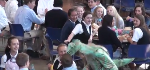Me dressed as a dinosaur in the cafeteria, pecking at people's food.
