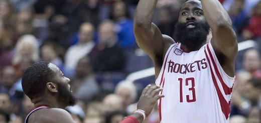 Houston Rockets guard James Harden takes a shot vs. the Washington Wizards (courtasy of flickr)