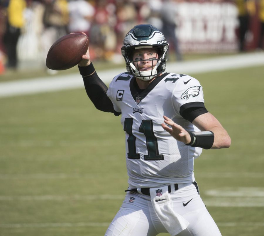 Philadelphia Eagles quarterback Carson Wentz throws a pass vs. the Washington Redskins Sept. 10. The Eagles won 30-17. Photo courtesy of Wikimedia Commons