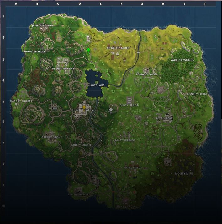 On this map, Fortnite is played by millions daily. The island is filled with weapons, shields and more.