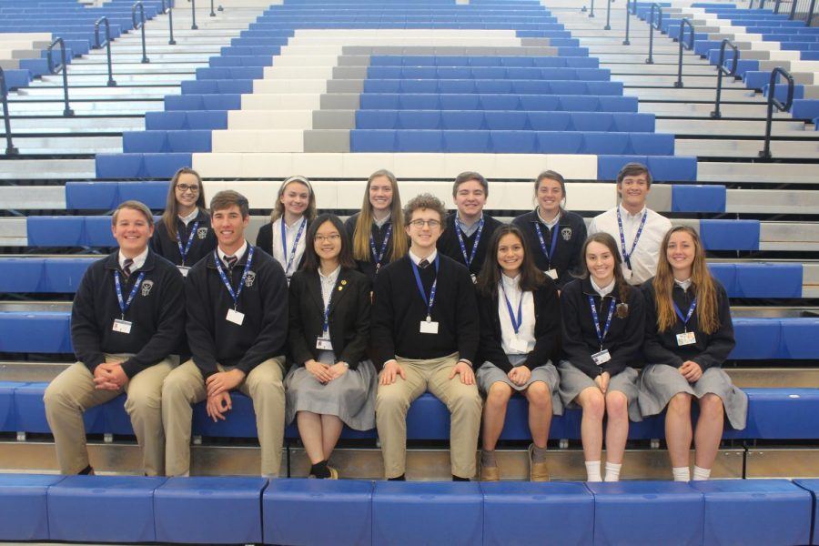 Posing+for+a+photo%2C+the+House+presidents+and+vice+presidents+are+pictured.+Back+row%3A+Natalie+Knapp%2C+Emme+Bina%2C+Adrienne+Johnson%2C+Brogan+Wuestewald%2C+Maggie+Koster+and+Braden+Barr.+Front+row%3A+Thomas+Clevenger%2C+Scott+Valentas%2C+Lily+Nguyen%2C+Will+Niehbur%2C+Hannah+Harpel%2C+Isabel+Ultzsch+and+Claudia+Fury.+Not+pictured%3A+Kathy+Pham%2C+Kylie+Bitcon+and+Javier+Martinez