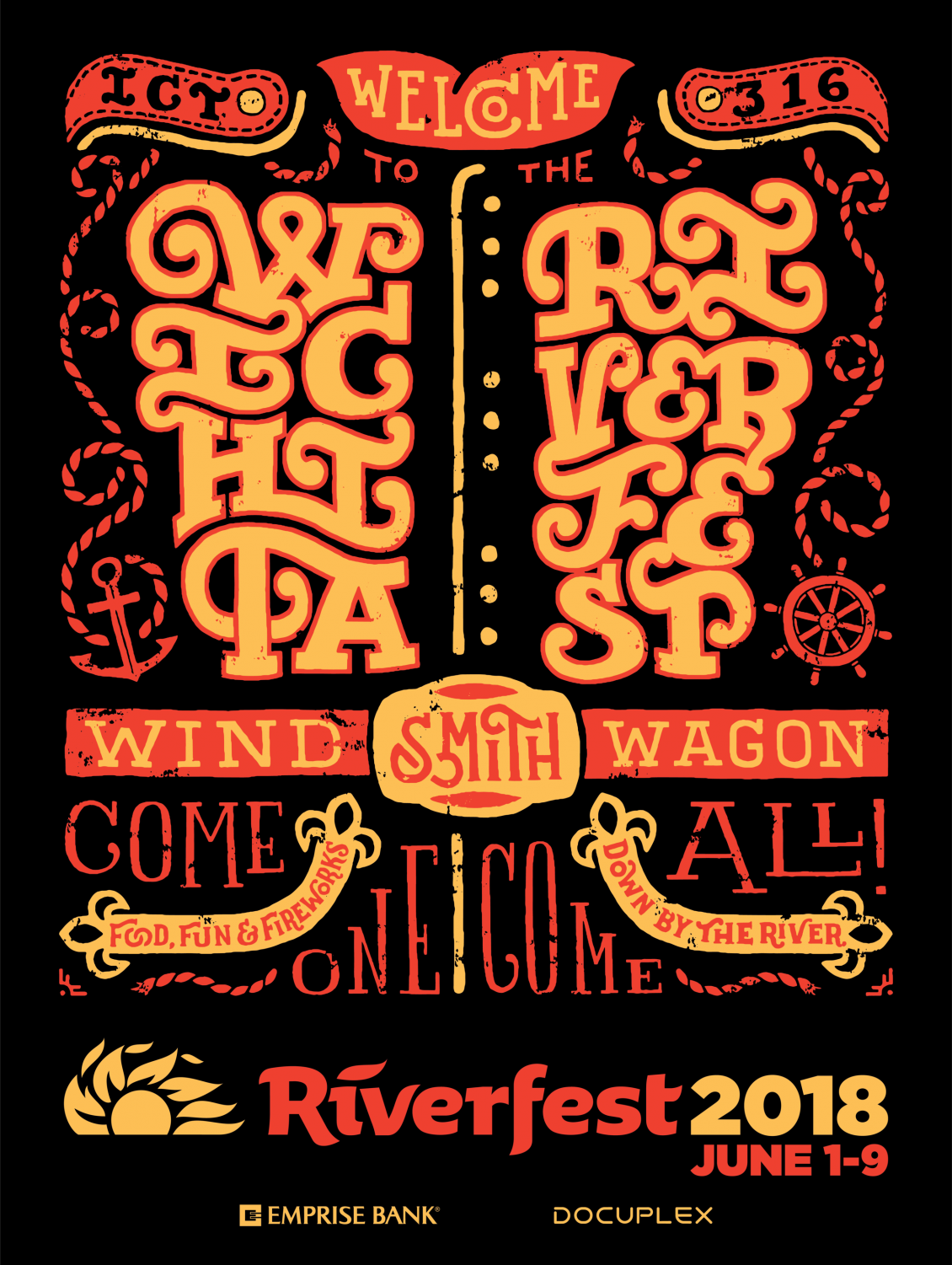 Designed by Joe Worley, the 2018 poster is a symbol of this year's theme for the summer festival. Worley is a Wichita-based artist and is active in the community. photo courtesy of wichitariverfest.com