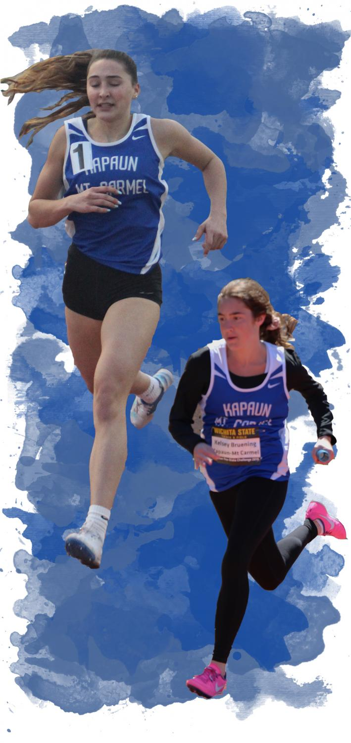 (Left) sprinting to the finish line,  junior Claire Bruening competes in the 400-meter dash March 22 at Heights. Bruening typically competes in the 4x100, 4x400, and the 400-meter dash. (Right) competing in the 4x100 relay, freshman Kelsey Bruening, runs with the baton. She placed first at the Pre-State Track Meet April 12 at Cessna Stadium.