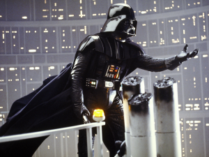 "In this image from ""Star Wars Episode V: The Empire Strikes Back,: Darth Vader reaches out toward his son after defeating him in battle. image courtesy of wookiepedia"