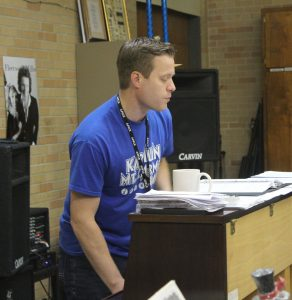 "In preparation for the Souvenir Concert, music teacher Bryan Miller plays the piano and directs the Madrigals choir as they sang ""My Heart Will Go On"" by Celine Dion April 21. The theme for this year's Souvenir is '90s, following last year's, which was '80s."