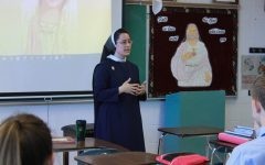 Teaching a Christian Morality class, Sr. Jacinta seeks to share her faith with her students. She is concerned about how Masterpiece Cakeshop Vs. Colorado Civil Rights Comission could affect how religious people live their lives. Photo by John Biehler