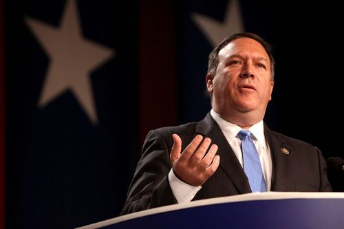 Former Kansas Representative, Mike Pompeo, speaks at the 2011 Values Voter Summit in Washington, DC. Pompeo was confirmed by the Senate to be the next Secretary of State April 26.