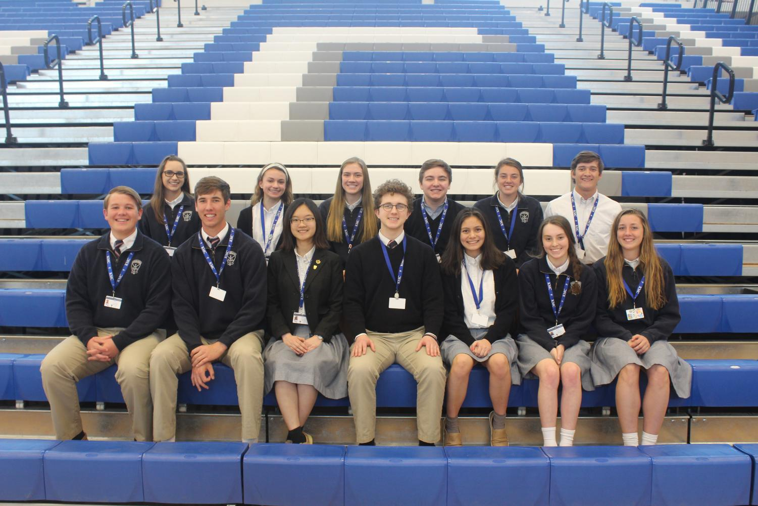 Posing for a photo, the House presidents and vice presidents are pictured. Back row: Natalie Knapp, Emme Bina, Adrienne Johnson, Brogan Wuestewald, Maggie Koster and Braden Barr. Front row: Thomas Clevenger, Scott Valentas, Lily Nguyen, Will Niehbur, Hannah Harpel, Isabel Ultzsch and Claudia Fury. Not pictured: Kathy Pham, Kylie Bitcon and Javier Martinez