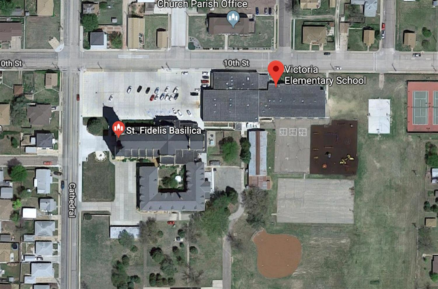 In close quarters, the friary at St. Fidelis Basilica shares a parking lot with Victoria Elementary School. This concerns many people due to the fact that ex-cardinal Theodore McCarrick, an alleged sex offender, now resides in the friary. photo courtesy of google maps.