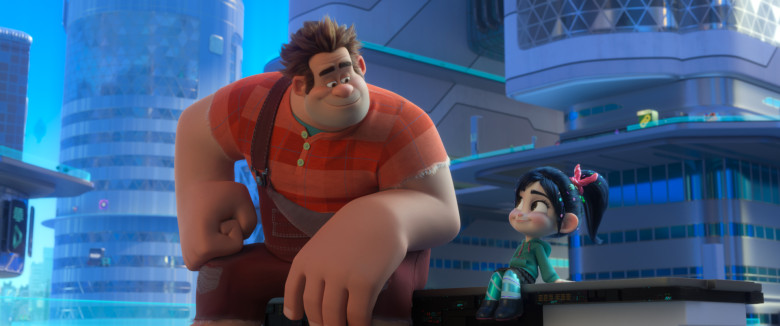 Smiling at each other, Wreck-It Ralph and Princess Vanellope von Schweetz relax after their adventure through the Internet together.  photo courtesy of Disney