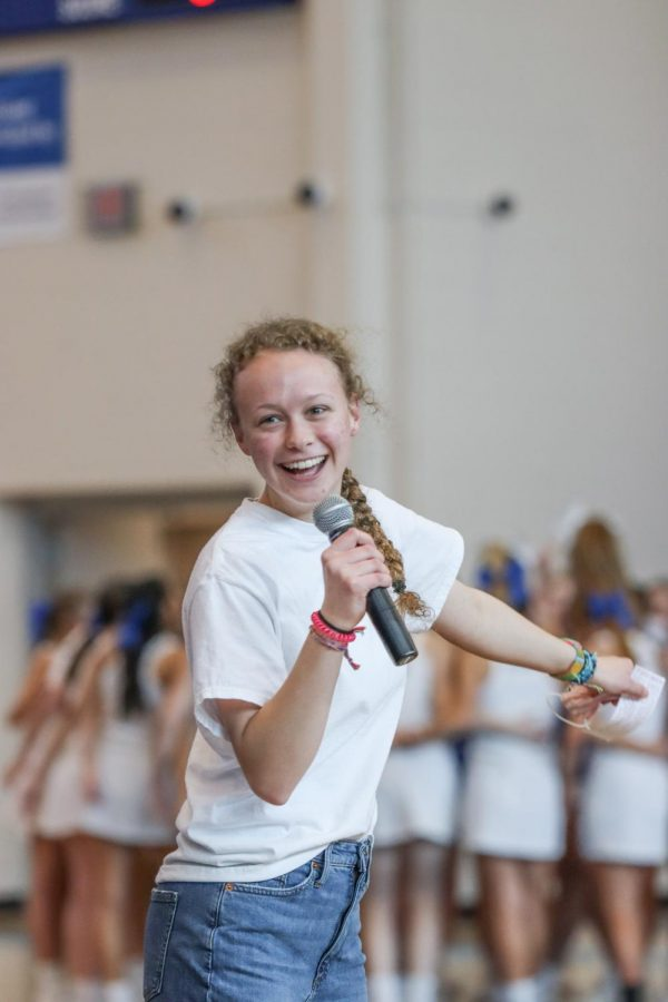 Junior Hannah Ternes, hosted the KMC Pep Rally Feb. 5 in the new gym. The Pep Rally ended Catholic Schools week. Every year schools in the Diocese have a week of festivities, to celebrate the opportunities students have at Catholic Schools.