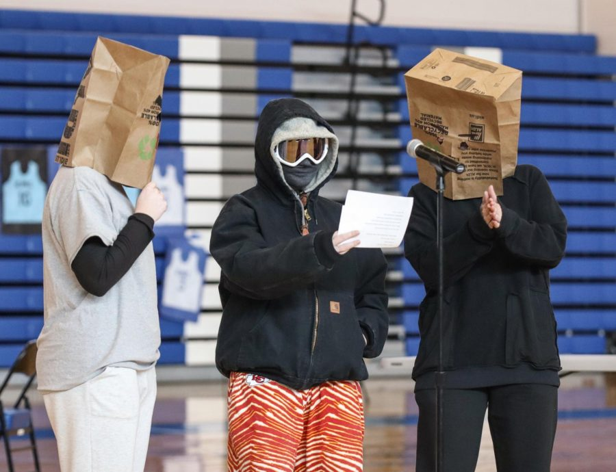 Singing together, the three masked singers made an appearance during the KMC Pep Rally on Feb. 5. The singers included Spanish teachers Melanie Gorges, Amanda Prieto, and Taryn Scott.